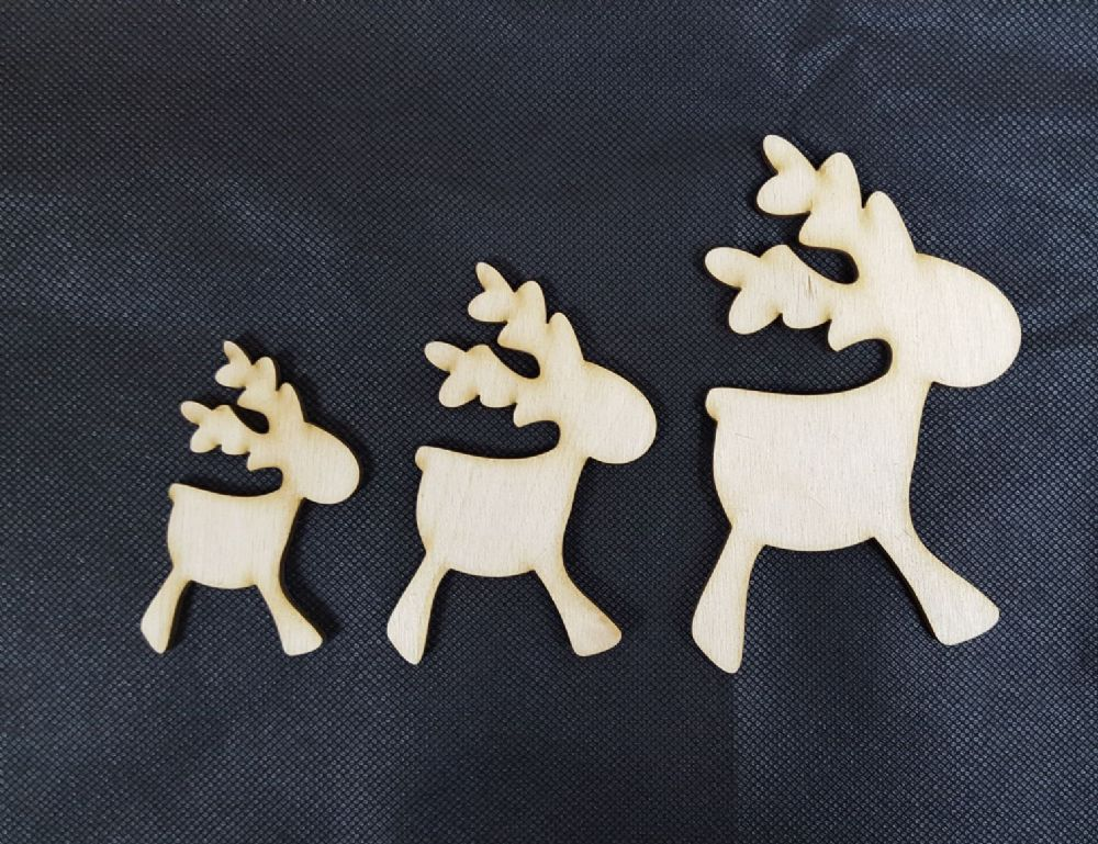Wacky Wooden Reindeer Shape Pack Of 10 Choice Of 3 Sizes